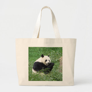 Giant Panda Eating Bamboo Tote Bags