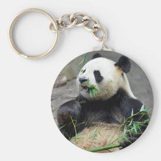 Giant panda eating bamboo keychain