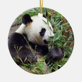 Giant panda eating bamboo Double-Sided ceramic round christmas ornament