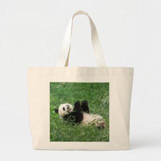 Giant Panda Lounging Eating Bamboo Canvas Bag