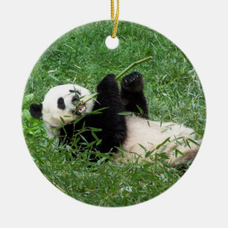 Giant Panda Lounging Eating Bamboo Ceramic Ornament