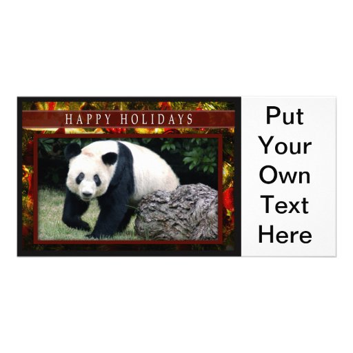 Giant Panda or Baby Panda Christmas Photo Card