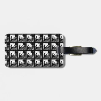 Giant Pandas Pop Art Black and White Luggage Tag