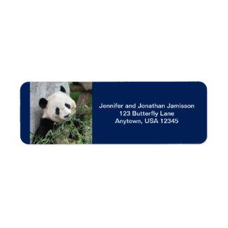 Giant Pandas Return Address Labels, Dark Blue Label