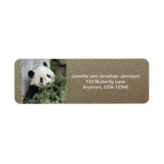 Giant Pandas Return Address Labels, Faux Chrome Label