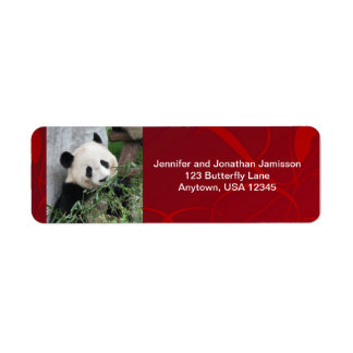 Giant Pandas Return Address Labels, Red