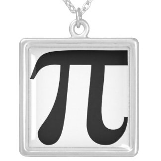 "Giant ""Pi"" Symbol Silver Plated Necklace"