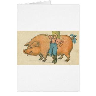 giant pig with farmer card