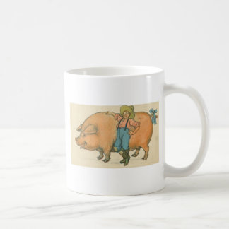 giant pig with farmer mugs