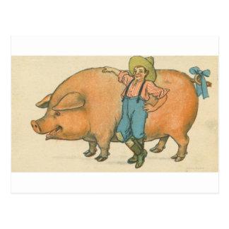 giant pig with farmer postcard