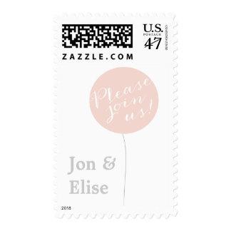Giant Pink Balloon Customizable Postage Stamp