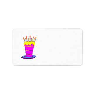 Giant Pink Birthday Cake Label