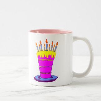 Giant Pink Birthday Cake Two-Tone Coffee Mug