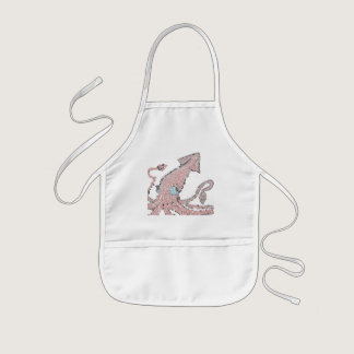 Giant pink squid mosaic kids' apron