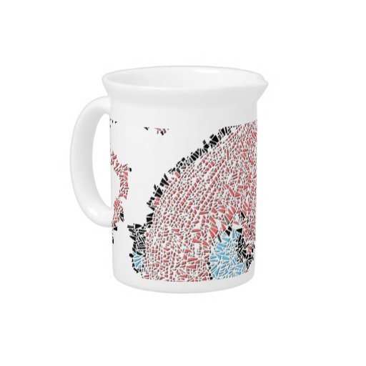 Giant pink squid mosaic pitchers