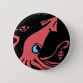 Giant pink squid on black background button