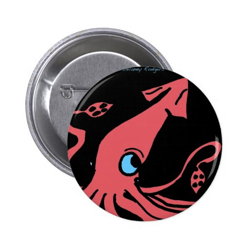 Giant pink squid on black background pin