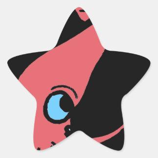 Giant pink squid on black background star sticker