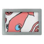 Giant pink squid rectangular belt buckle