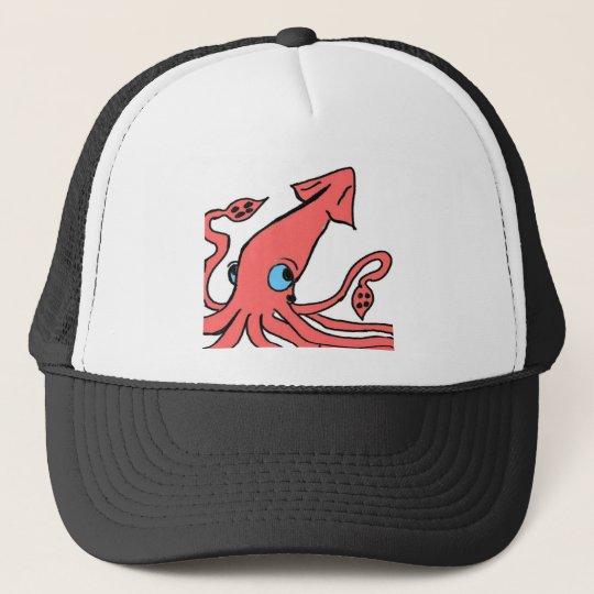 Giant pink squid trucker hat
