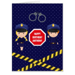 Hand shaped Giant Police themed Birthday Greeting add photo Card