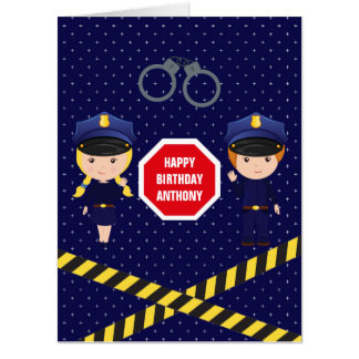 Giant Police themed Birthday Greeting add photo Card