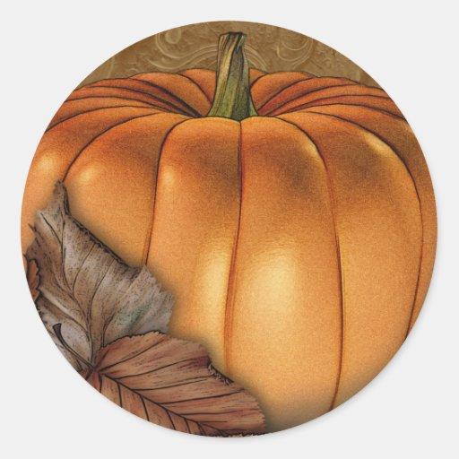 Giant Pumpkin Round Stickers