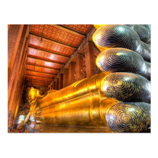 Giant reclining Buddha inside temple, Wat Pho, Postcard