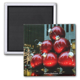 Giant Red Christmas Ornaments in New York City Magnet