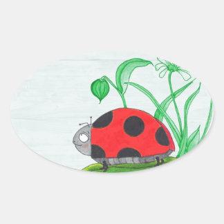 Giant red ladybug on a leaf oval sticker