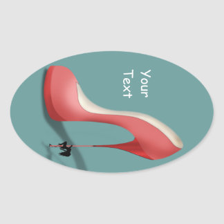 Giant Red Stiletto Cartoon Dancing Heel Stickers