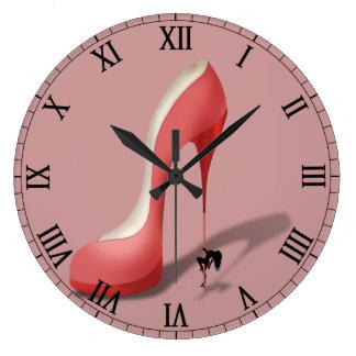 Giant Red Stiletto Cartoon - Pole Dancing Stripper Large Clock