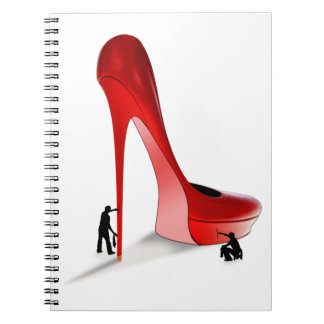 Giant Red Stiletto Cartoon - Two Man Job Spiral Notebooks