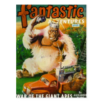 Giant Remote-controlled White Gorilla Postcard