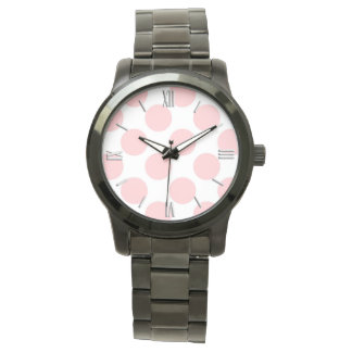 Giant retro dots - Shell pink, with numbers Wristwatch