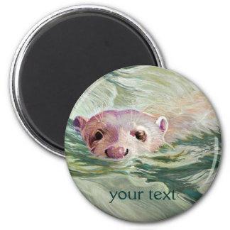 Giant River Otter Fine Art 2 Inch Round Magnet