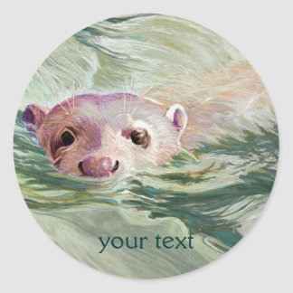 Giant River Otter Fine Art Classic Round Sticker
