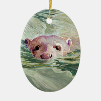 Giant River Otter Fine Art Double-Sided Oval Ceramic Christmas Ornament