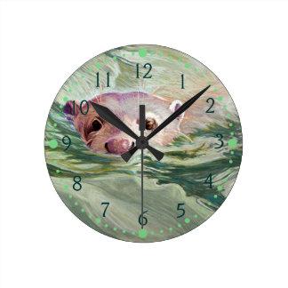 Giant River Otter Fine Art Round Clock