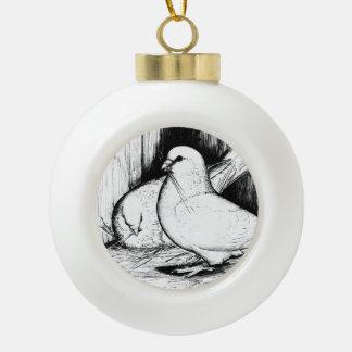 Giant Runt Pigeons Ceramic Ball Christmas Ornament