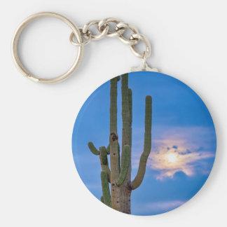 Giant Saguaro Cactus Golden Cloudy Full Moonset Basic Round Button Keychain
