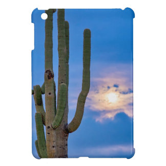 Giant Saguaro Cactus Golden Cloudy Full Moonset Cover For The iPad Mini