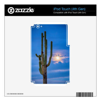 Giant Saguaro Cactus Golden Cloudy Full Moonset Decals For iPod Touch 4G