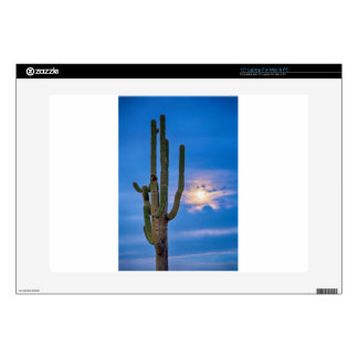 Giant Saguaro Cactus Golden Cloudy Full Moonset Decals For Laptops
