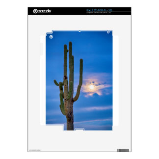 Giant Saguaro Cactus Golden Cloudy Full Moonset iPad 2 Skins