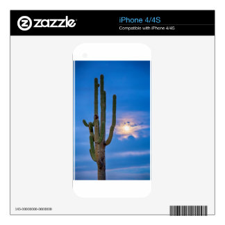 Giant Saguaro Cactus Golden Cloudy Full Moonset iPhone 4 Skin