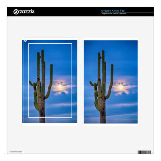 Giant Saguaro Cactus Golden Cloudy Full Moonset Kindle Fire Skin