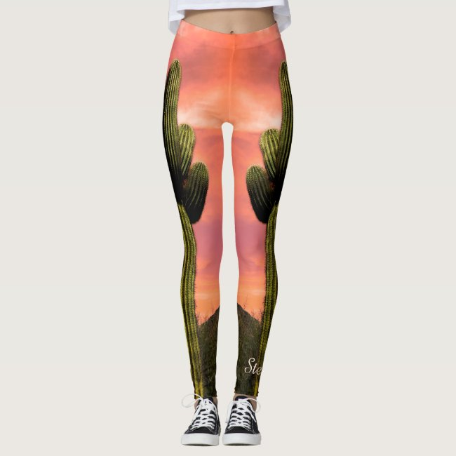 Giant Saguaro Cactus, Personalized Name Leggings