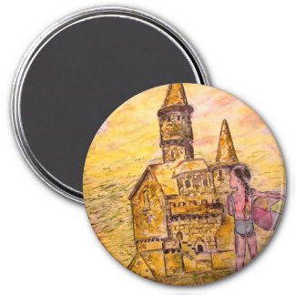 giant sandcastle art 3 inch round magnet