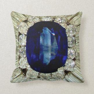 Giant Sapphire Emerald Diamonds Costume Jewelry Throw Pillow
